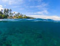 双重风景 蓝色海运天空 海景分裂照片 双重seaview 免版税库存照片