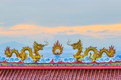 双重龙用中文寺庙 免版税图库摄影