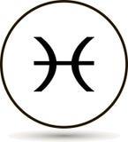 双鱼座黄道带标志 在圈子的占星术标志象 免版税库存图片