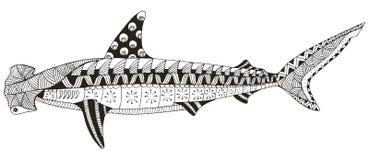双髻鲨zentangle传统化了,导航,例证, patte 免版税库存照片