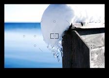 反光镜冬天 库存图片