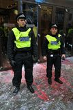 反剪切伦敦警察抗议暴乱 库存图片