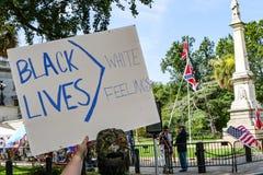 反同盟者旗子抗议者 库存图片
