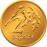 反向波兰金钱两波兰钱币铜币 免版税库存照片