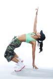 反向舞蹈演员健身姿势触击 库存图片