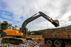 反向铲或挖掘机 库存照片
