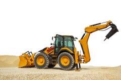 反向铲装载者或推土机-有被隔绝的裁减路线的挖掘机 图库摄影