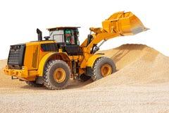 反向铲装载者或推土机-有裁减路线isola的挖掘机 免版税库存照片