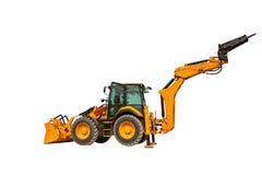 反向铲装载者或推土机-有裁减路线isola的挖掘机 免版税库存图片