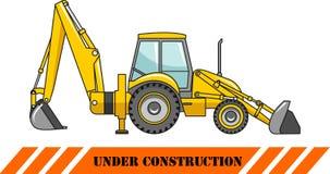 反向铲装载者 建筑大量设备 向量 库存例证