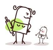 反对一个小害羞的丈夫的动画片大恼怒的妻子 免版税库存照片
