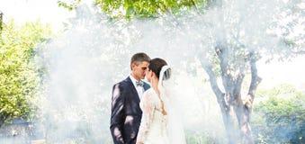 反对一个有薄雾的庭院的背景的婚礼夫妇 库存照片