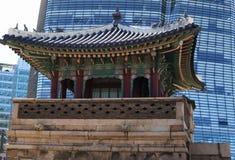 反对一个现代摩天大楼的全国韩国大厦 图库摄影