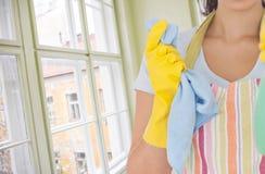 反对一个窗口的妇女擦净剂在屋子里 库存照片