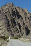 反对一座大山的Chorton在Leh manali路 免版税库存图片