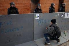 反对乌克兰的政府的拒绝的群众抗议 库存图片