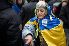 反对乌克兰的政府的拒绝的群众抗议 库存照片
