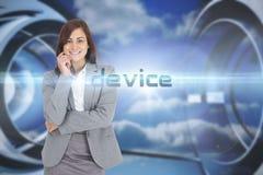 反对云彩的设备在一个未来派结构 免版税图库摄影