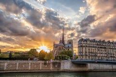 反对五颜六色的日落的Notre Dame大教堂在春天在巴黎,法国 图库摄影