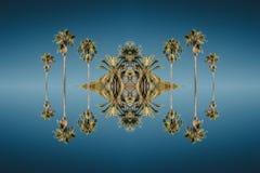 反对充满活力的蓝天的棕榈在西班牙巴塞罗那 图库摄影
