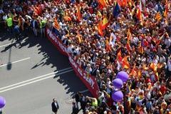 反对加泰罗尼亚的独立的抗议 免版税库存照片