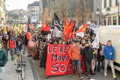反对劳方改革的抗议在法国 库存图片