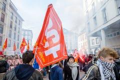 反对劳方改革的抗议在法国 免版税库存照片