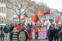反对劳方改革的抗议在法国 库存照片