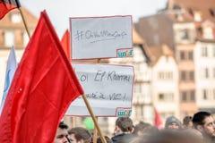 反对劳方改革的抗议在法国 免版税图库摄影