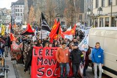 反对劳方改革的抗议在法国 免版税库存图片