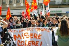 反对劳方改革的4月抗议在法国 免版税库存照片