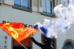 反对劳方改革的4月抗议在法国 库存照片