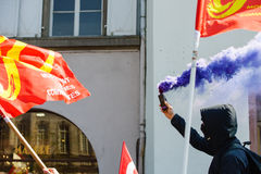 反对劳方改革的4月抗议在法国 免版税图库摄影