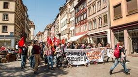 反对劳方改革的4月抗议在法国 免版税库存图片