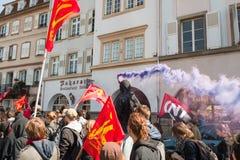 反对劳方改革的4月抗议在法国 图库摄影