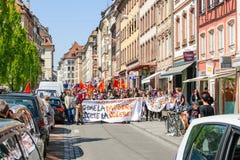 反对劳方改革的4月抗议在法国 库存图片