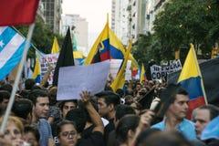 反对厄瓜多尔政府的抗议 免版税库存照片