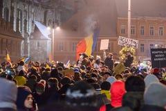 2017 - 反对囚犯体谅计划的罗马尼亚人抗议 布拉索夫, 图库摄影