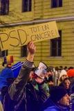 2017 - 反对囚犯体谅计划的罗马尼亚人抗议 布拉索夫, 库存照片