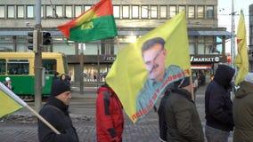 反对土耳其侵略的库尔德人抗议 股票视频