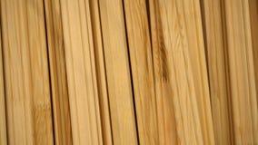 反对墙壁和照相机的行木柱基杉木立场在他们附近转动特写镜头 股票录像