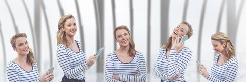 反对大厦背景的愉快的妇女拼贴画 免版税库存图片