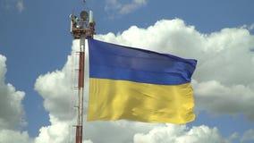 反对天空的乌克兰国旗 股票录像