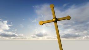 反对天空的金属十字架与云彩 库存例证