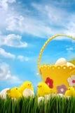 反对天空背景的复活节小鸡 库存照片