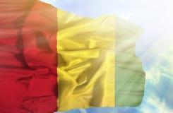 反对天空蔚蓝的几内亚挥动的旗子与阳光 库存图片