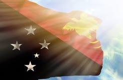 反对天空蔚蓝的巴布亚新几内亚挥动的旗子与阳光 库存照片