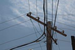反对天空蔚蓝的电引导的支持 免版税库存照片