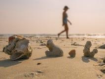 反对妇女迷离背景的珊瑚部分  图库摄影