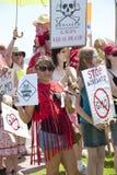 反对孟山都和GMOs的全世界抗议 免版税库存图片